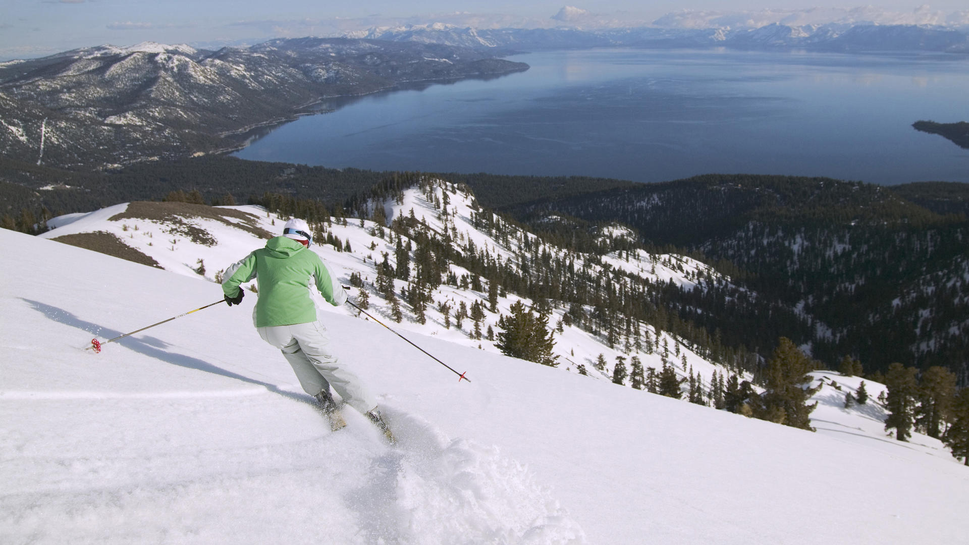 person skiing in south lake tahoe