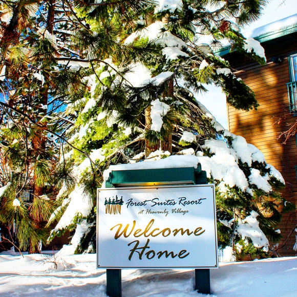 winter sign at forest suites resort