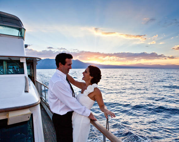 couple kissing on lake tahoe bleu wave